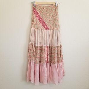 An'ge Paris Colorblock Boho Prairie Maxi Skirt S